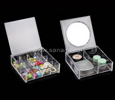 Acrylic makeup organizer with mirror