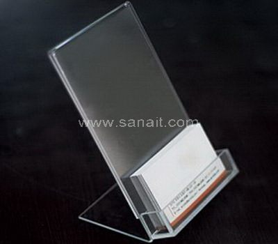 Acrylic business card holder with back sign board
