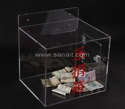 Wall mounted clear donation box