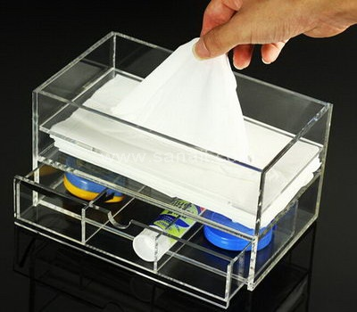 Acrylic tissue box with drawer
