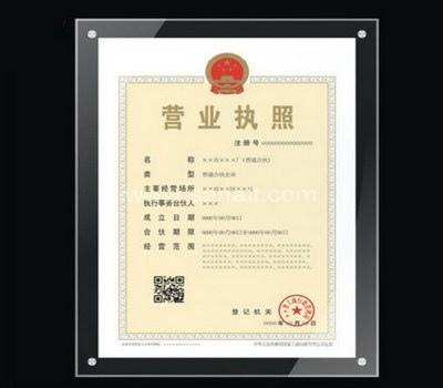 Acrylic certificate frame
