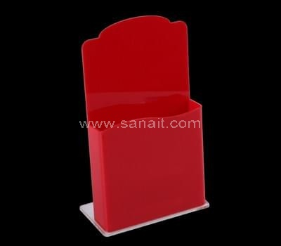 Red acrylic brochure holder