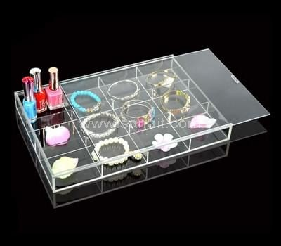 Acrylic compartment box with sliding lid