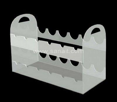 White acrylic wine bottle display rack