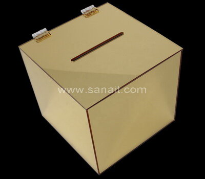 Gold mirror acrylic ballot box with lock