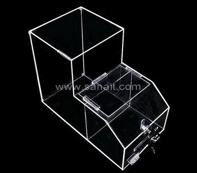 Custom lockable acrylic food storage container dispenser
