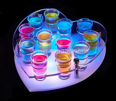 Heart Shaped Color Changeable LED Light Up Shot Glasses Tray