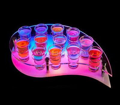 Leaf Shaped Color Changeable LED Creative Shot Glass Rack Holder