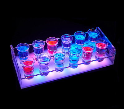 Rechargeable LED Light Up Acrylic Tray Wine Cup Shot Glasses Holder