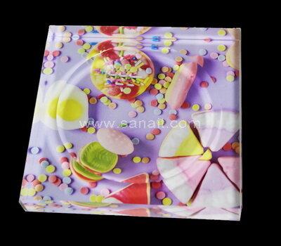 SACA-023-1 Custom UV printed acrylic block candy bowl