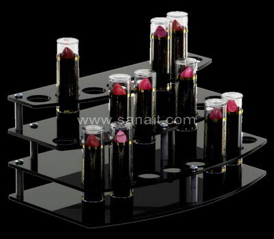 3 tiers black acrylic lipstick display stands wholesale