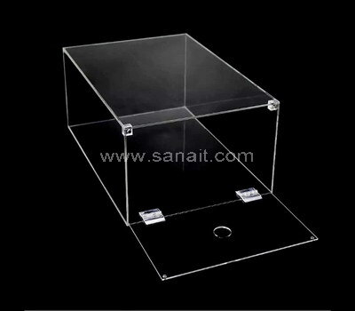 Drop front stackable clear acrylic sneaker shoe organizer box