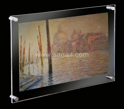 Clear acrylic wall mount floating frameless picture frame